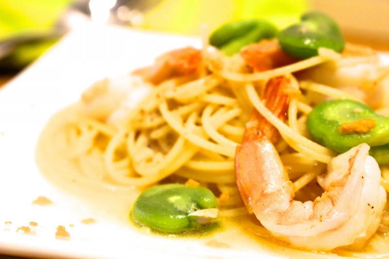 海老と春野菜のパスタ